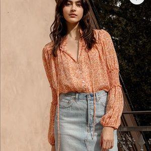 NWT Lulu's Floral Print  Long Sleeve Bodysuit